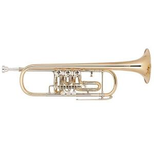 Bb Trumpet with 3 rotary valves Miraphone 9R Gold Brass laquered
